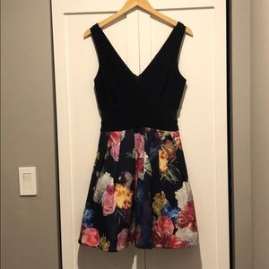 Floral party dressy. Navy blue top.